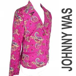 Johnny Was Embroidered Jacket Paisley Floral, L